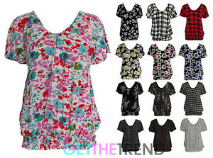 Womens-Floral-V-Neck-Short-Sleeve-Top-Ladies-Flower-Print-Baggy-Top-Size-14-24