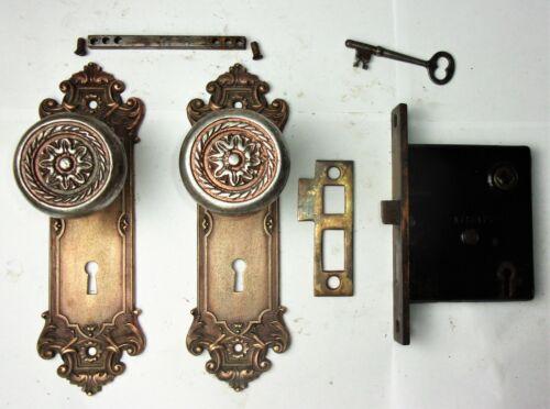 Antique Entrance Door Set Victorian / Eastlake Backplate Knob Mortise Lock Key