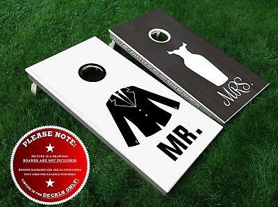 MR & MRS Cornhole Board Decals Bean Bag Toss Wedding Bride Groom Stickers DIY