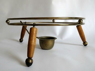 Fabulous Atomic Mid Century Modern Chafing Dish Metal & Wood Round Stand Holder