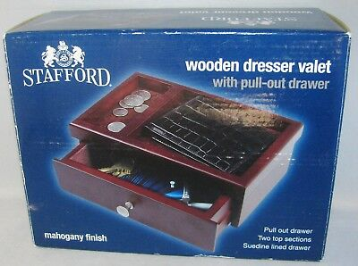 Stafford Wooden DRESSER VALET 2 Top Sections Pull Out Drawer Mahogany Finish NIB 2 Drawer Mahogany Dresser