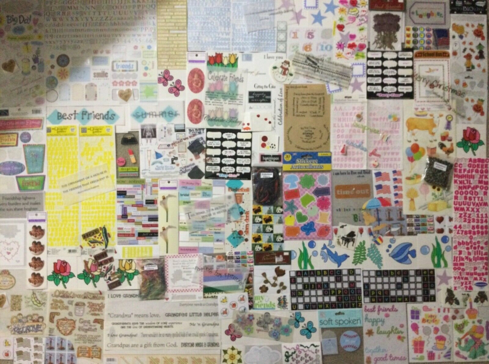 Huge Lot 136 Sheets SCRAPBOOKING STICKERS Embellishments Many Varieties Themes  - $22.99
