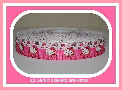 (7/8 INCH HELLO KITTY WITH POLKA DOT PINK BOW ON GROSGRAIN RIBBON-1  YD)
