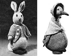 KNITTING PATTERN 5065 Instructions to Make Peter Rabbit & Jemima Duck in 3 ply