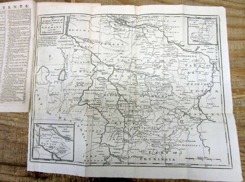 1761 newspaper with detailed Map of GERMANY during The SEVEN YEARS WAR in Europe