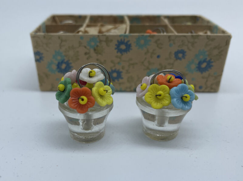 Vintage Set of (8) Czechoslovakia Place Card Holders - Glass Flowers in Pot