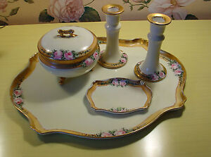 vintage-dresser-tray-set-candleholders-powder-or-trinket-box-small-tray-Limoges