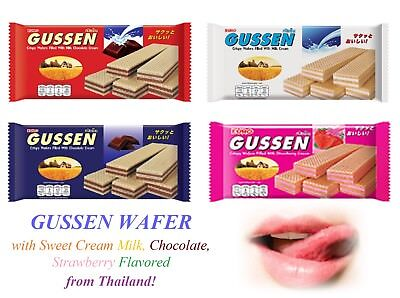 - GUSSEN Wafer with Sweet Cream Milk, Chocolate, Strawberry Flavored from Thailand