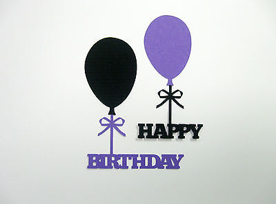 Black And Purple Balloons (Happy Birthday WORD balloon Black and Purple  cardstock die cuts)
