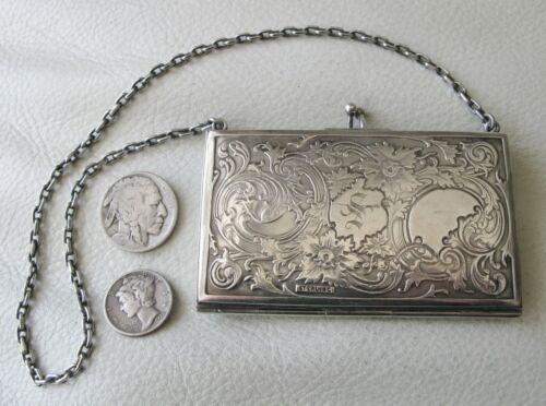 Antique Art Nouveau Sterling Silver Floral Leaf Metal Compact Card Case Purse S