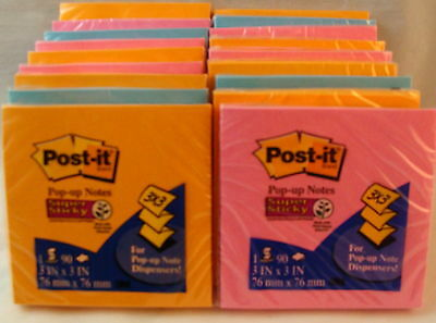 18 Pads 1620 Sheets 3m Super Sticky Post-it Accordian Notes 3x3 Inch Elec Glo