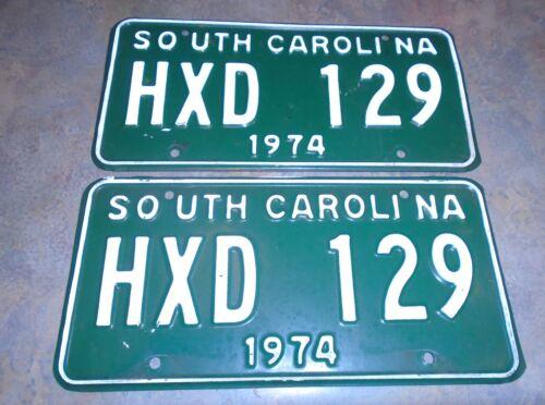 1974 South Carolina  pair License Plates # HXD 129