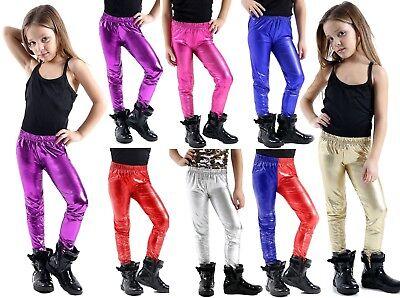 Girls Disco Pants (NEW Kids GIRLS Disco Metallic Shiny Pants Dance Leggings school Footless 5 to)