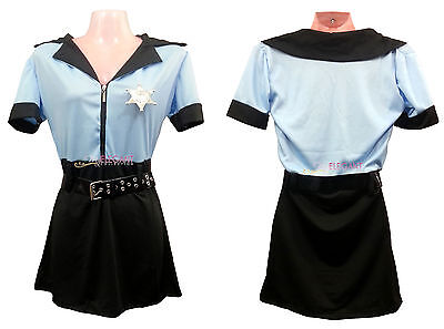 Adult Women Blue Police Cop Costume Halloween Uniform Fashion Outfit Dress Set - Fashion Police Halloween Costume