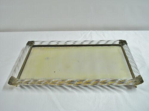 Vintage Footed Dresser Tray Spiral Murano Glass Mirror Ormolu Mid Century Vanity