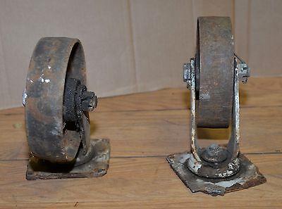 2 Heavy Duty 7 Swivel Casters Railroad Cart Safe Industrial Steampunk Tool Lot