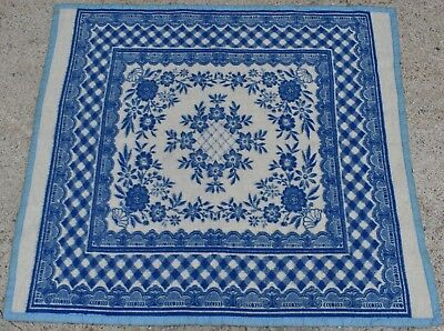 Iraqi Wool Blanket Blue and White Checkered Floral Patterned Persian