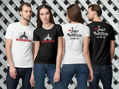 Disney Honeymooners - Just Married-Double Sides Customized T-Shirts For Couples!](Couple Customs)