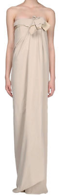 LANVIN Beige Strapless Bustier Bow Dress Gown  2 4