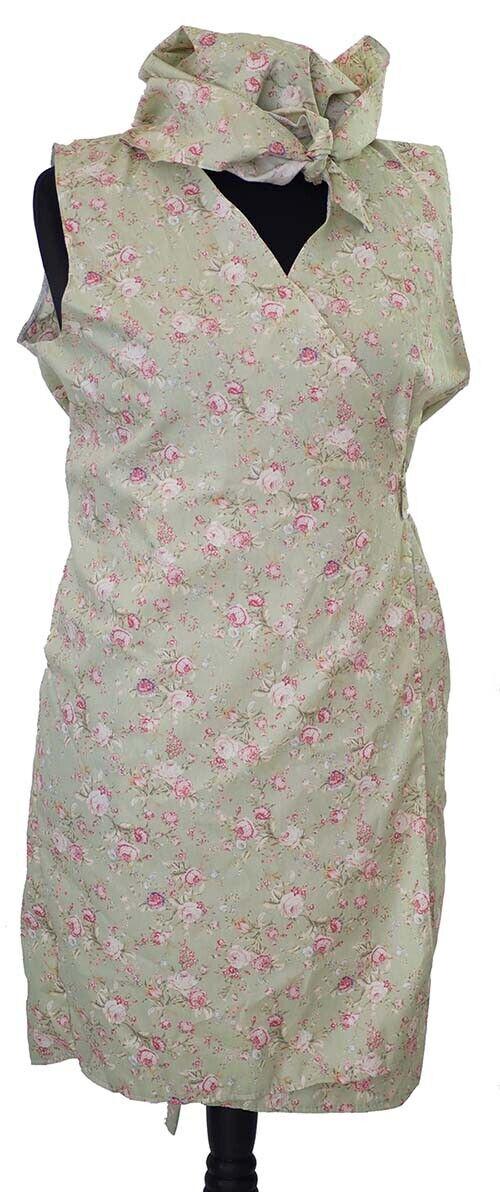 NORA BATTY WARTIME 1940/'s Vintage Green Floral Wrap Around Pinny-Headscarf-10-42