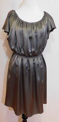 Thomas Burberry Charcoal Gray Silk Pleated Short Flutter Sleeve Dress, Medium Pleated Flutter Sleeve Dress