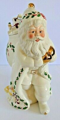 VTG 1999 LENOX Christmas Holiday Santa Skates to New Millennium Cookie Jar Box