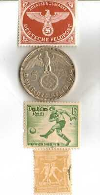 #-5)-1936-*german  Olympic and WWII stamps/coin(.900%)+1896-*greek Olympic stamp