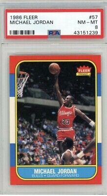 Michael Jordan 1986 Fleer #57 Rookie RC PSA NM-MT 8 regrade 8.5 9 DEAD CENTERED!