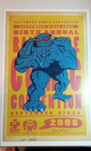 2008 Baltimore Comic Con Monster Ad Poster Signed by Artist Paul Conrad