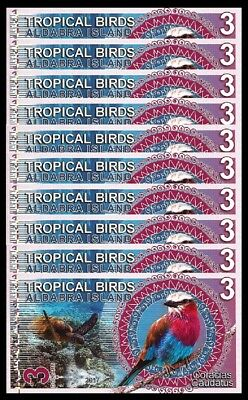 Aldabra Island 3 Dollars 2017 Unc 10 Pcs Lot Tropical Birds
