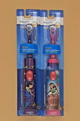 2 Kids Girl electric Power toothbrush Princess Mermaid Pink Purple extra soft