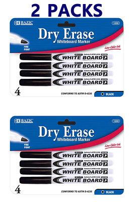 8 Pcs Fine Tip Dry Erase Whiteboard Black Marker Expo 2 Packs