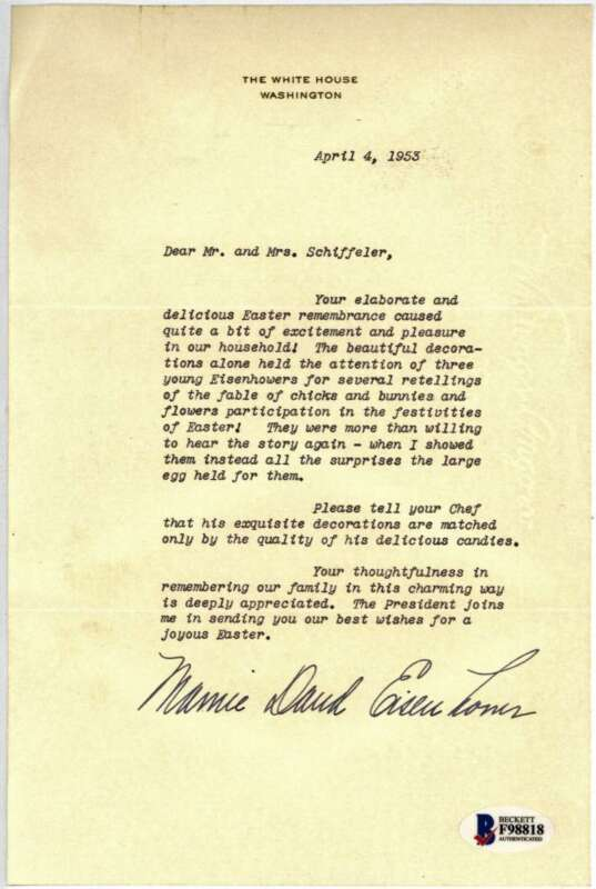Mamie David Eisenhower Signed Autographed 5x8 Typed Letter Beckett BAS