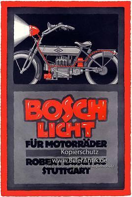Robert Bosch AG Stuttgart Motorräder Scheinwerfer Plakat Braunbeck Motor A3 137