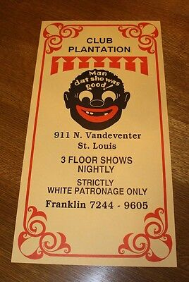 Plantation Club WHITES ONLY jazz Gangster St Louis Poster Black Americana