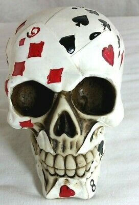 Brand New Halloween Decorative Poker Face Playing Cards Skull  Statue Figurine