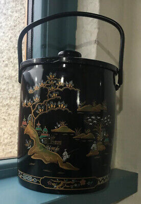VINTAGE 1950's Ice Bucket With Glass Thermos Liner Enamelled Tin Lid Wood Knob