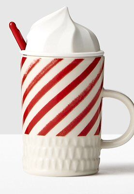 2016 Starbucks Candy Cane Whip Top Mug with Spoon 10 oz - Candy Cane Spoons