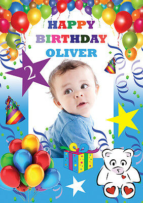 Personalized Balloons With Photo (LARGE BIRTHDAY POSTER BANNER PERSONALISED ANY COLOUR NAME THEME TEXT WITH)