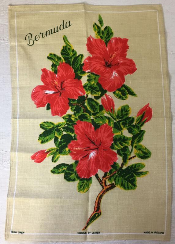 """ULSTER Linen Tea Towel Bermuda Hibiscus Made in Ireland 29"""" X20"""" NEW Vintage NOS"""