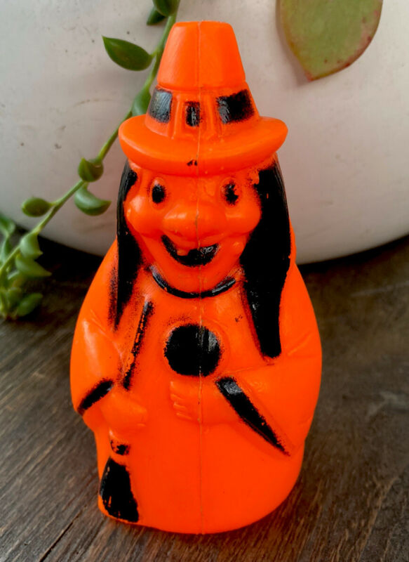 unusual vintage halloween blow mold witch