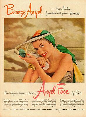 1950 Cosmetics AD, POND'S Angel Face 'Bronze Angel' Summer Face Powder 083014
