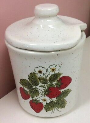 McCoy Strawberry Country Jam Jelly Jar  Stoneware ECU