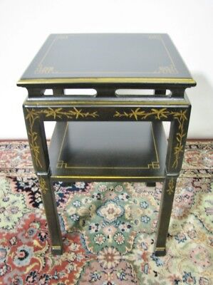Vintage Drexel Heritage Asian Inspired Two-Tier Black Lacquer Occasional Table