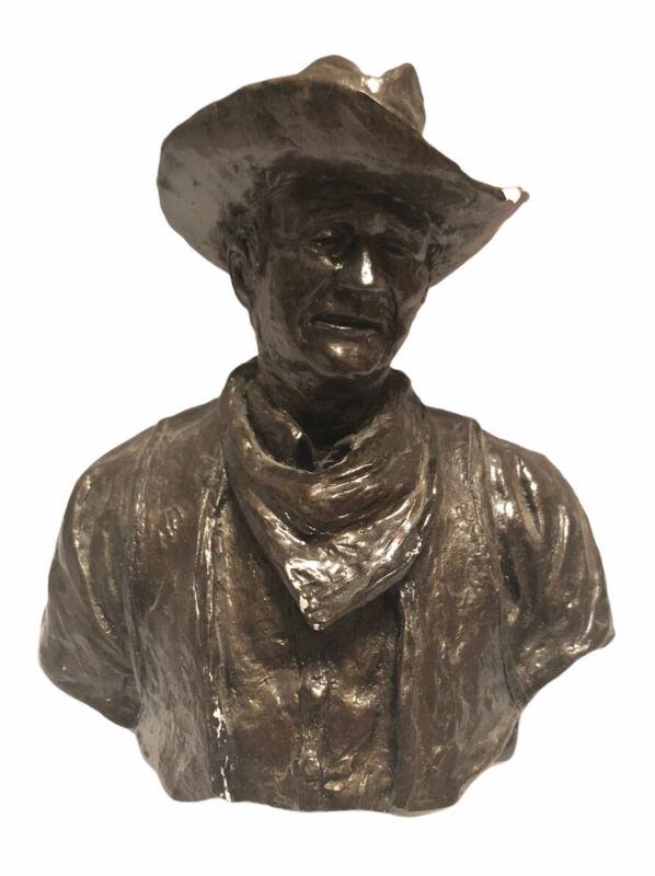"John Wayne Bronze Ceramic Bust Figure Cowboy Statue Paperweight 6"""