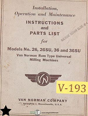 Van Norman 26 26su 36 And 36su Milling Install Operation Maintenance Manual
