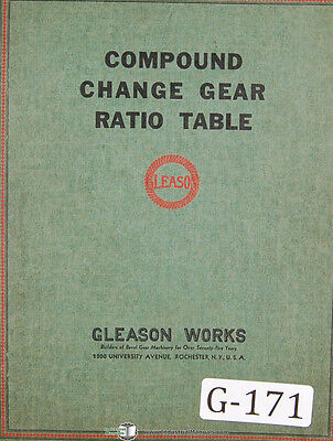 Gleason Compound Change Gear Ration Tables .3000000 To 3.333333 Manual 1937