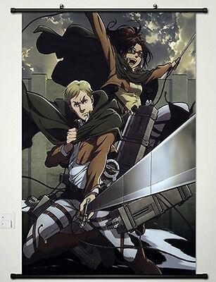 Anime Attack on Titan Wall Scroll Poster Hanji Zoe & Erwin Smith 40*60CM