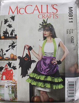WITCH APRON-SILHOUETTES-BAG-HALLOWEEN COSTUME McCalls Pattern 6811 Misses S-L