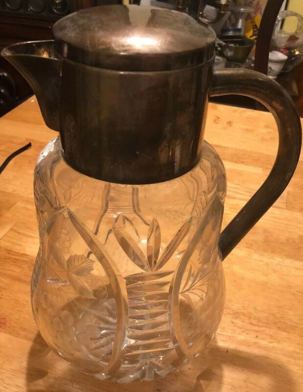 PITCHER-COOLER. CUT GLASS. METAL